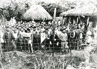 沖縄戦末期に集団投降した兵士や防衛隊員ら。「先例のない数」と記されている。進んで米軍に協力する者もいた