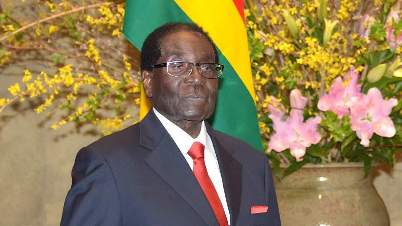 2016年に来日した当時のムガベ大統領=同年3月28日、藤井太郎撮影