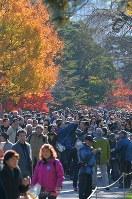 1年半ぶりの一般公開で、紅葉が見ごろとなった乾通りを歩く大勢の人たち=皇居で2017年12月2日午前9時47分、手塚耕一郎撮影