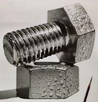 水滴が付いたボルトやナットを描いた作品=大森浩平さん提供