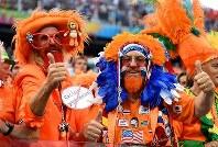 【オランダ・アルゼンチン】盛り上がるオランダサポーター=2014年7月9日、ゲッティ