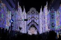 試験点灯された「神戸ルミナリエ」=神戸市中央区で2017年12月4日午後10時1分、久保玲撮影