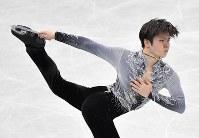 【フィギュアGPファイナル】  男子SPで演技する宇野昌磨=名古屋市南区の日本ガイシホールで2017年12月7日、宮間俊樹撮影