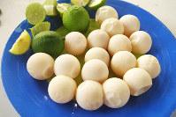 テーブルに載せられた珍味、ウミガメの卵=メキシコ・オアハカ州の村で、吉田正仁さん撮影
