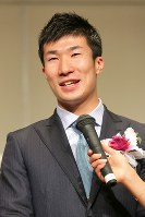 2年連続でグランプリを受賞した陸上の桐生祥秀選手=東京都文京区で2017年12月7日午後1時41分、和田大典撮影