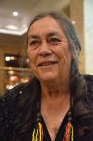 ノーベル平和賞授賞式を前に思いを語るスー・コールマン・ハッセルディーンさん=オスロで2017年12月10日、竹下理子撮影
