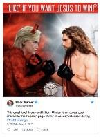 悪魔になったクリントン候補がキリストと対峙(たいじ)する、ロシアから発信された政治広告。米上院が「ロシアの選挙介入の一例」として公表した=米上院情報特別委員会メンバーのツイッターから