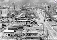 被爆から1年の広島市内で建設が進むバラック。「更科第三支店」や「旅館」などの看板を出しているものがある。左から千代田生命広島支社、広島県産業奨励館(現在の原爆ドーム)、本川小学校、日本赤十字社広島支部、広島県商工経済会など。紙屋町交差点には電停が見え、南や東に向かう電車の姿が確認できる。中央左寄りに建築資材等を運ぶための仮設レールとトロッコが見える=広島市東魚屋町(現広島市中区立町)の商工組合中央金庫広島支所屋上から西に向かって撮影1946年7月24日ごろ