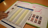 告訴状を提出した78歳女性。レンタル料の支払いについて記した表やパンフレットを見て信じ込んでしまったという=大阪市内で20日、戸上文恵撮影