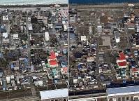 写真左は糸魚川の大火から一夜明けた現場周辺=新潟県糸魚川市で2016年12月23日午前11時12分、本社ヘリから西本勝撮影。同右は再建が進まず空き地も目立つ現在の現場周辺=2017年12月20日午前11時9分、本社機から竹内紀臣撮影