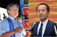 Nago Mayor Susumu Inamine, left, and candidate Taketoyo Toguchi, supported by the Liberal Democratic Party and Komeito, are set to vie for the Nago mayoral seat in an election on Feb. 4, 2018. (Mainichi)