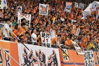アルビレックス新潟のサポーターたちは、声をからして応援していた=新潟市中央区のデンカビッグスワンスタジアムで9月9日