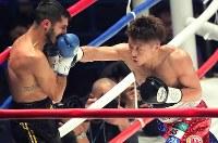 【WBO世界スーパーフライ級王座戦】二回、ヨアン・ボワイヨを攻める井上尚弥(右)=横浜文化体育館で2017年12月30日、和田大典撮影