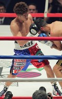 【WBO世界スーパーフライ級王座戦】一回、ヨアン・ボワイヨを攻める井上尚弥(左)=横浜文化体育館で2017年12月30日、和田大典撮影