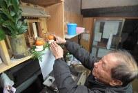 被災した自宅の神棚に鏡もちを供える井手巽さん=福岡県朝倉市杷木松末で2017年12月31日午後2時11分、徳野仁子撮影