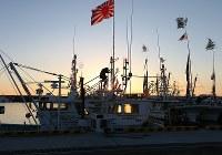 震災後初めて請戸漁港で行われる出初め式の準備で旗を漁船に掲げる漁師=福島県浪江町で2018年1月2日午前7時6分、小出洋平撮影