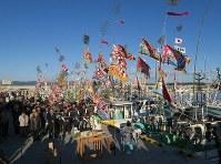 震災後初めて請戸漁港で行われた出初め式=福島県浪江町で2018年1月2日午前8時12分、小出洋平撮影