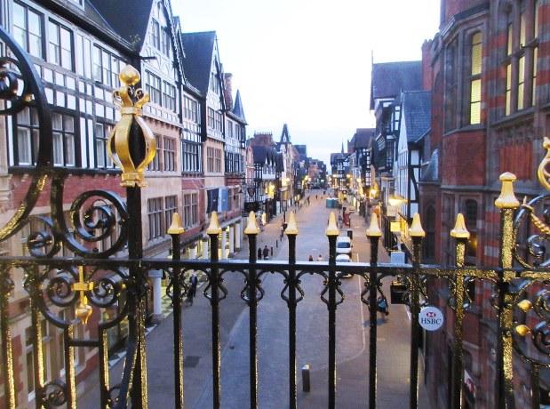 英チェスターの城壁から見た旧市街の一角