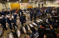People are seen next to fresh tuna at Tsukiji fish market in Tokyo's Chuo Ward, on Jan. 5, 2018. Many reporters visited the market as this was the last time for a first auction of the year to take place at the Tsukiji site. (Mainichi)