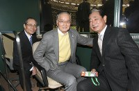 WBC第1ラウンドの韓国戦を観戦に訪れた(左から)王貞治氏、長嶋茂雄氏、星野仙一氏=東京ドームで2009年3月7日(代表撮影)