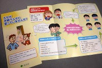 This photo shows a Tokyo Metropolitan Government pamphlet with information on the effects of domestic violence in front of children. (Mainichi)