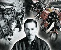 コラージュ・清田万作 写真は(左から)豪雪で2階の窓へ配達される年賀状=金沢市で1961年▽伊丹万作映画監督▽年賀状の配達に向かう郵便局の社員=熊本市で今年