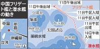 中国フリゲート艦と潜水艦の動き