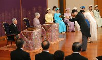 Emperor Akihito, Empress Michiko and other members of the Imperial Family are seen at the annual New Year Poetry Reading Ceremony at the Imperial Palace, on Jan. 12, 2018. (Mainichi)