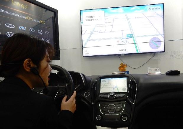 最先端のカーナビにも音声認識技術は欠かせない。中国では地場企業の技術が採用されている=中国合肥市の「科大訊飛」で2017年12月6日、赤間清広撮影