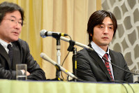 This April 11, 2017 file photo shows Go Kasai, the father of a second-year junior high school student who took her own life, at a press conference in Aomori. (Mainichi)