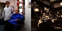 <右>今から66年ほど前、長男の潔さんを抱く永井季雄さん=永井さん提供<左>当時と内装は変わったが、2人は同じ店で共に仕事をしている