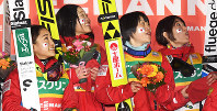 From left, Japanese ski jumpers Sara Takanashi, Yuka Seto, Yuki Ito, and Kaori Iwabuchi are seen on Jan. 20, 2018. (Mainichi)