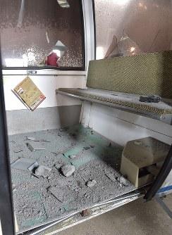 噴火により被害を受けたゴンドラ=群馬県草津町の草津国際スキー場で2018年1月24日午前10時25分、藤井達也撮影