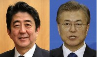 Japanese Prime Minister Shinzo Abe (left, Mainichi) and South Koeran President Moon Moon Jae-in (AP)