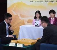 阿含・桐山杯日中決戦に臨んだ六浦雄太七段(左)と柁嘉憙九段=中国・北京で2017年12月6日