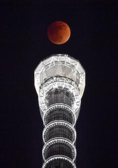皆既月食で赤銅色に染まる満月。下は東京スカイツリー=東京都墨田区で2018年1月31日午後10時26分、藤井達也撮影
