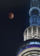 A full moon is dyed copper during a total lunar eclipse, as seen from Tokyo's Sumida Ward on Jan. 31, 2018. Tokyo Skytree is seen on the right. (Mainichi)