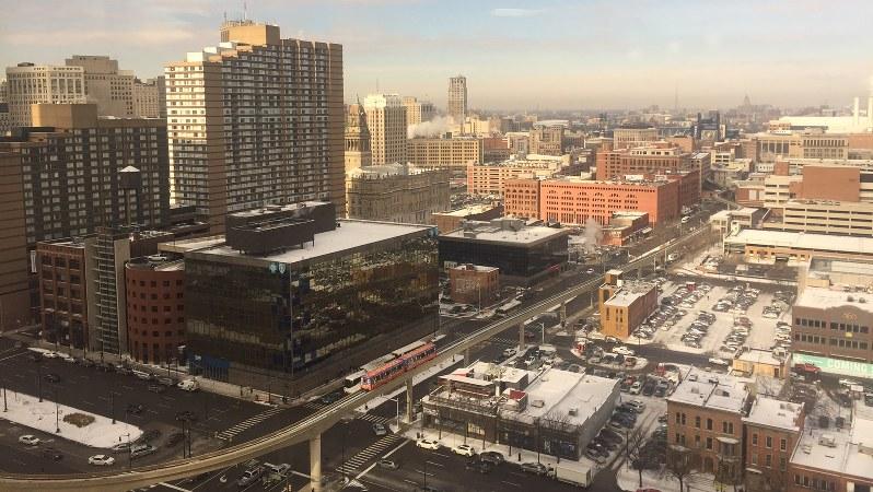 復興が進む米中西部デトロイト中心街=2018年1月17日、清水憲司撮影