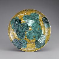 古九谷 江戸時代前期、口径37.9センチ=出光美術館蔵