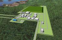 地層処分施設の地上には高レベル放射性廃棄物の検査施設や緩衝材の製作施設などが配置される。奥の段状の緑色の部分は掘削土(イメージ図)=原子力発電環境整備機構提供