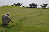 熊本地震後に同県大津町のゴルフ場でみつかった地表のずれ。直下に大きな地震がなくても現れた=国土地理院提供