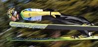 【バンクーバー五輪】スキージャンプラージヒルで8位に入賞した葛西紀明=カナダ・ウィスラーの五輪公園で2010年2月20日、手塚耕一郎撮影