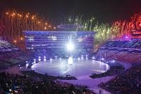 始まった開会式=韓国・平昌五輪スタジアムで2018年2月9日午後8時2分、手塚耕一郎撮影