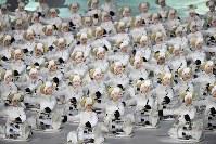 開会式で太鼓を鳴らすパフォーマー=平昌五輪スタジアムで2018年2月9日、宮間俊樹撮影
