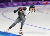 スピードスケート男子5000メートルに出場した一戸誠太郎=江陵オーバルで2018年2月11日、佐々木順一撮影
