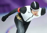 スピードスケート男子5000メートルに出場した土屋良輔=江陵オーバルで2018年2月11日、佐々木順一撮影
