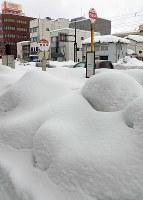 雪に埋もれたバスの停留所=福井市で2018年2月13日午後1時50分、平川義之撮影
