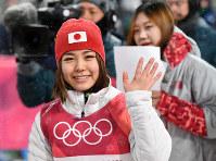銅メダルを獲得し、笑顔を見せる高梨沙羅=アルペンシア・ジャンプセンターで2018年2月12日、山崎一輝撮