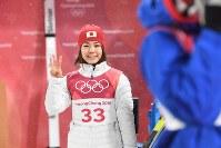 【ジャンプ女子】銅メダルを獲得し、笑顔の高梨沙羅=アルペンシア・ジャンプセンターで2018年2月12日、山崎一輝撮影