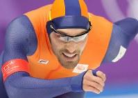 男子1500メートルで優勝したナウシュ=江陵オーバルで2018年2月13日、佐々木順一撮影